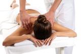 Unrecognizable woman receiving massage relax treatment close-up poster