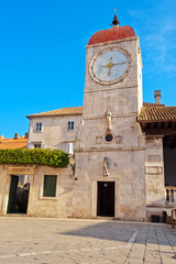 Clock tower at city square in Trogir, Croatia