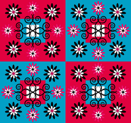 flower pattern square background