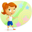 Sport fitness cartoon girl with abstract background