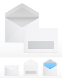 Set of blank envelops on white