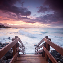 australian seascape with stairs in foreground at square format