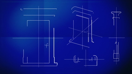Door Technical Drawing Blueprint Time Lapse