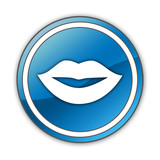 "Glossy Button ""Mouth / Lips Symbol"""