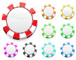 set of blank casino chips isolated on white background