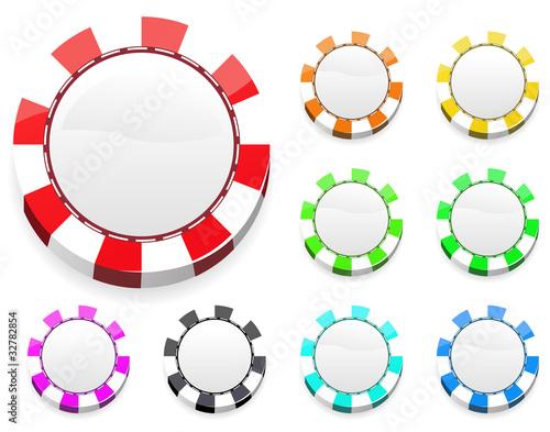 set of blank casino chips isolated on white background