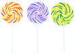 Colorful round lollipop set isolated on white