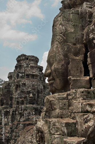 Stone Face on Bayon Temple at Angkor Thom, Cambodia