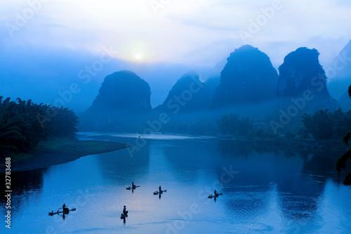 Leinwandbilder,china,blau,cormorant,fischer