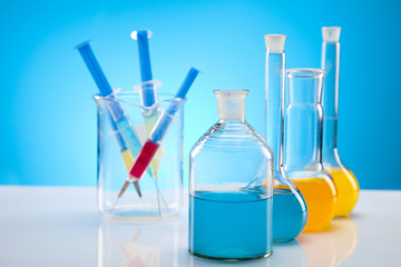 Laboratory flasks containing liquid color