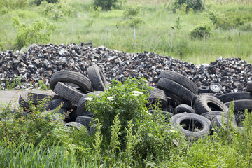 pile of old tires in the nature