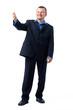 Businessman Gesturing in Blue Shirt.