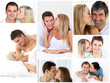 Collage of lovely couples embracing
