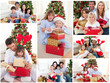 Collage of families celebrating Christmas together at home