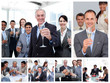 Collage of business people celebrating success with champagne