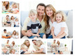 Collage of a family spending goods moments together and posing a