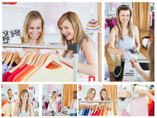 Collage of two good looking women doing shopping