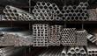 Leinwanddruck Bild - Metal pipe stack
