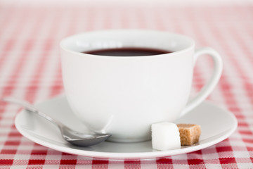 Coffee on a tablecloth
