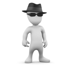 3d Little man in a trilby wearing sunglasses