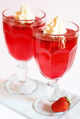 Strawberry jelly with cream