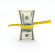 100 dollars money in measuring tape