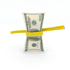 100 dollars money in measuring tape