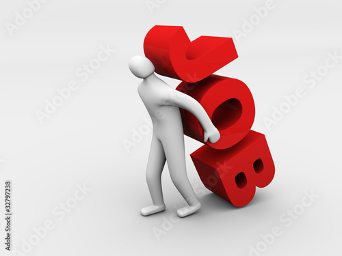3d man carrying heavy job sign. Overworking concept