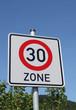 Verkehrsschild 30er Zone II