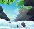 Gushing RiverWater Jumping The Rocks