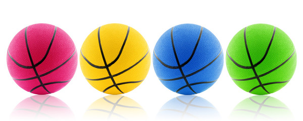 four colorful balls with reflection on white background.