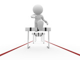3d people icon jumping over a hurdle obstacle poster