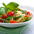 Spaghetti with green asparagus and cherry tomato