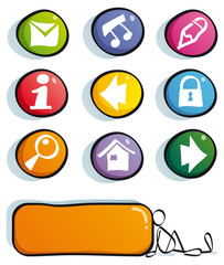 funny web buttons with color icons for cute website