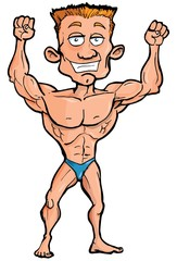 Cartoon body builder flexing his muscles