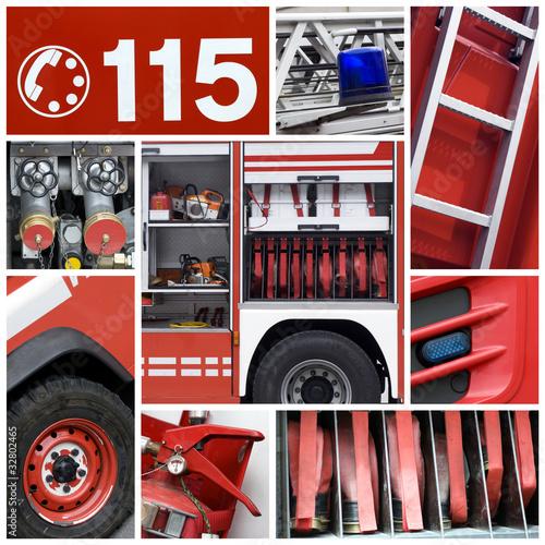 Poster Vigili del fuoco - collage