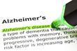 'Alzheimer's disease', under 'Alzheimer's'