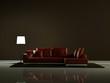 Modernes Design - rotes Ledersofa beleuchtet