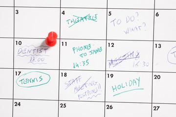 calendario degli impegni