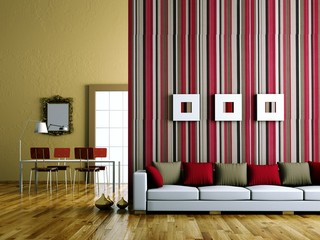 Wohndesign - Sofa vor Streifenwand