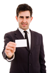 Young businessman offering businesscard on white background