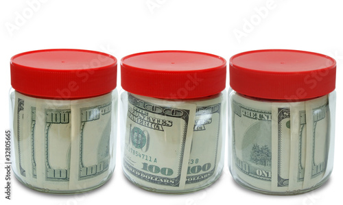 set of banknote in jar