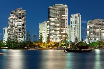 australian modern city at night (miami beach,gold coast)