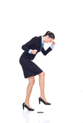 businesswoman angry on cellphone