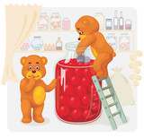 Two toy bear stealing cherry juice. poster