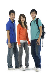 Educational theme: group of happy students isolated