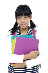 Asian student with backpack