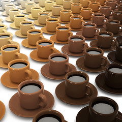 3d Cups of coffee in shades of coffee
