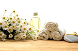 Body relax composition with towel, oil and flower