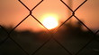 Sunset with a barbed wire fence